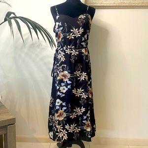 Floral Black Long Summer Dress Size M NWOT